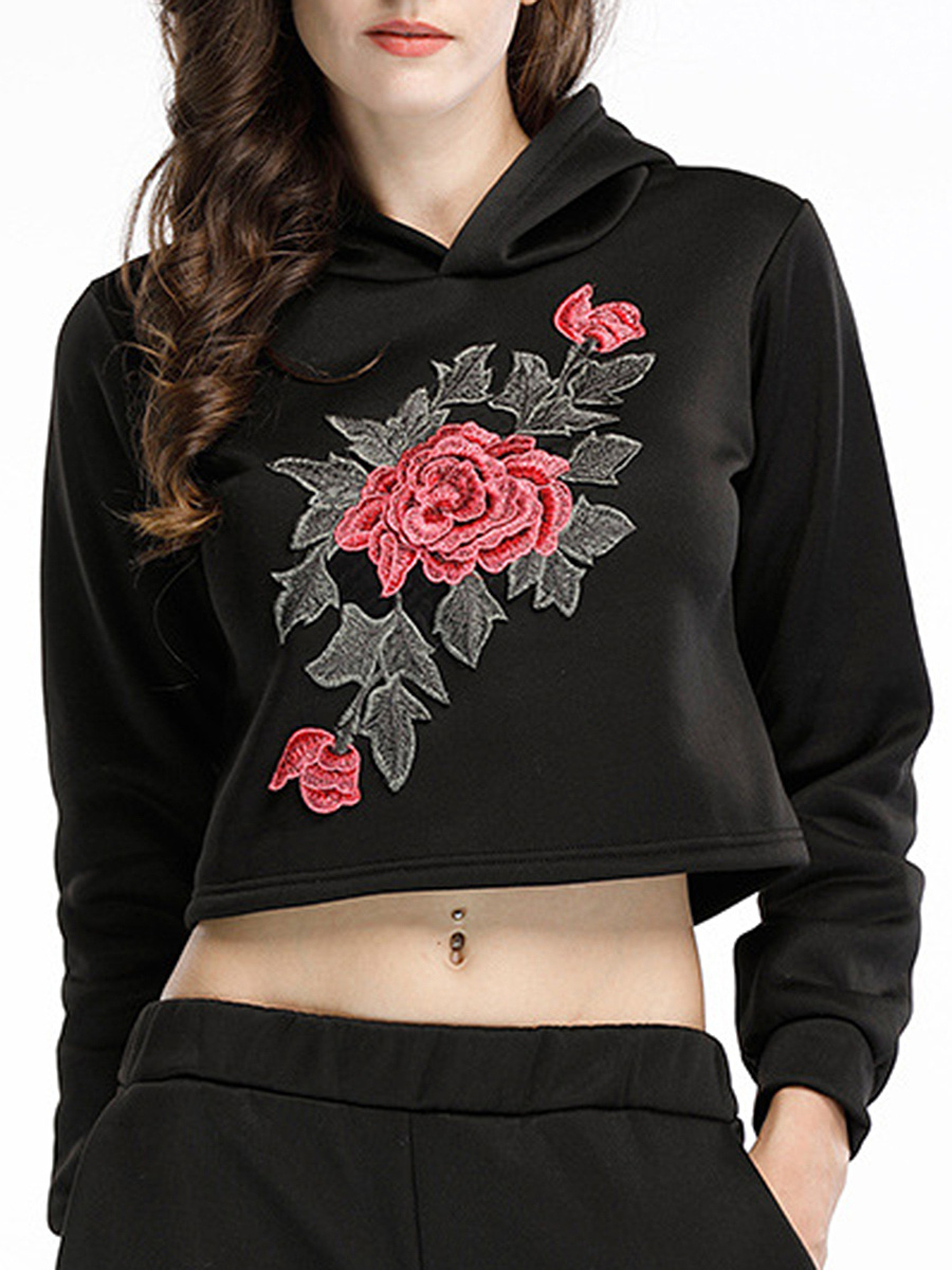Embroidery Cropped Hoodie