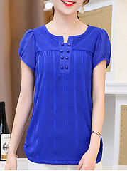 Summer  Polyester  Women  Round Neck  Asymmetric Hem  Decorative Button  Plain  Short Sleeve Blouses