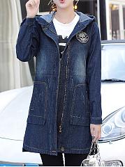 Hooded-Patch-Pocket-Plain-Long-Sleeve-Coats