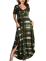 V-Neck  Ikat Maxi Dress