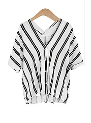 Summer  Polyester  Women  V-Neck  Single Breasted  Striped  Half Sleeve Blouses