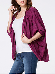Collarless  Plain  Batwing Sleeve Cardigan