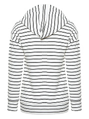 Striped Drawstring Kangaroo Pocket Hoodie