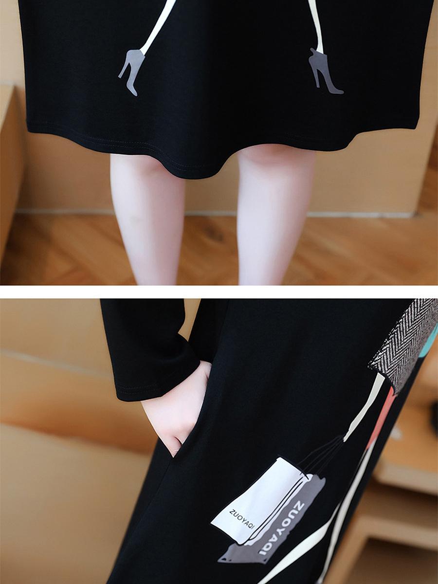 Hooded Slit Pocket Cartoon Printed Shift Dress
