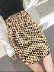Fashion Thick Glitter High Stretch  A-Line Mini Skirts For Lady