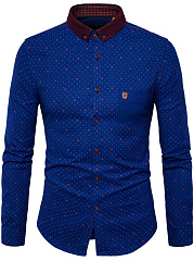 Polka-Dot-Button-Down-Collar-Men-Shirt