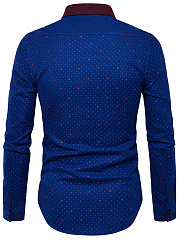 Turn Down Collar  Polka Dot  Cuffed Sleeve  Long Sleeve Long Sleeves