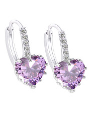 Pair Of Alloy Imitated Crystal  Heart Earrings