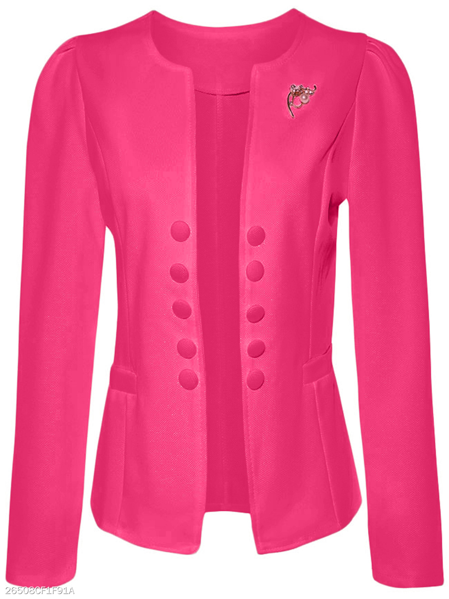 Decorative Button Brooch Plain Blazer