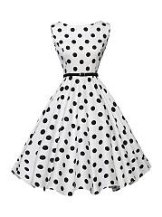 Boat-Neck-Belt-Polka-Dot-Skater-Dress