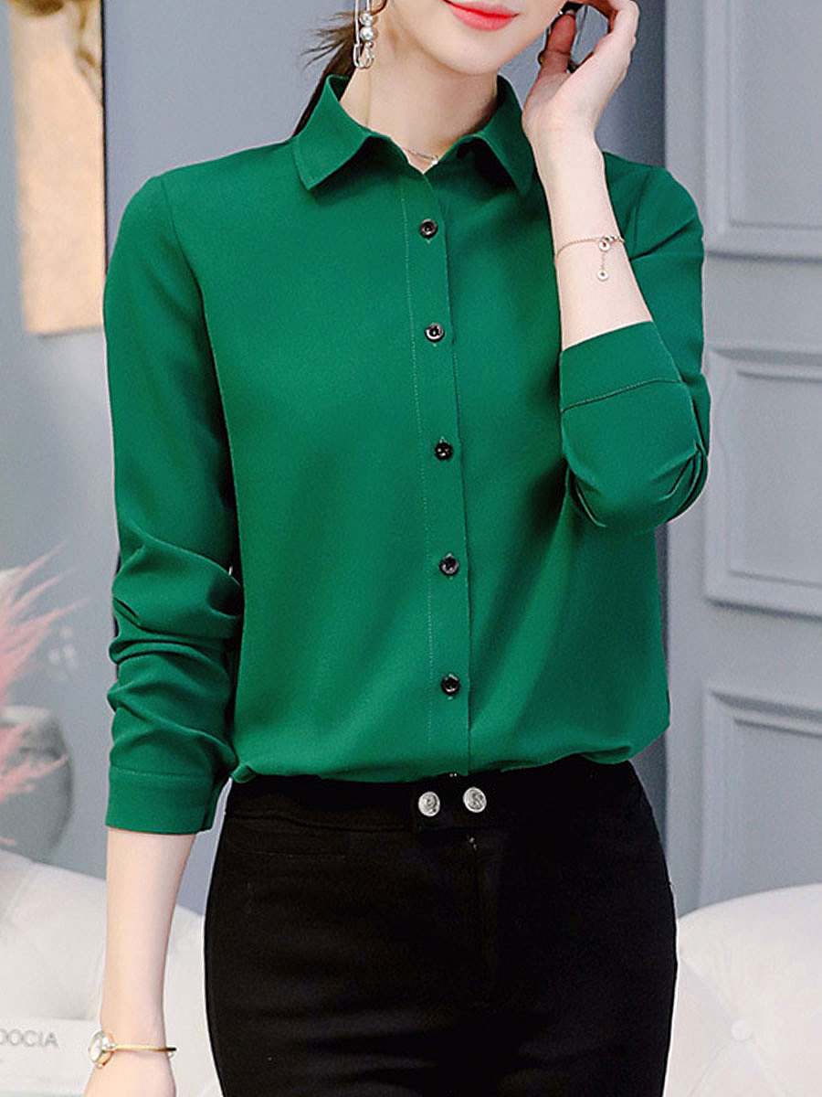 Autumn Spring  Polyester  Women  Turn Down Collar  Single Breasted  Plain  Long Sleeve Blouses