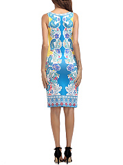 Collarless  Abstract Print Bodycon Dress