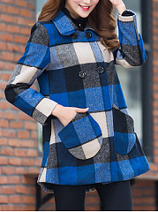Fold-Over Collar  Double Breasted  Plaid  Long Sleeve Coats