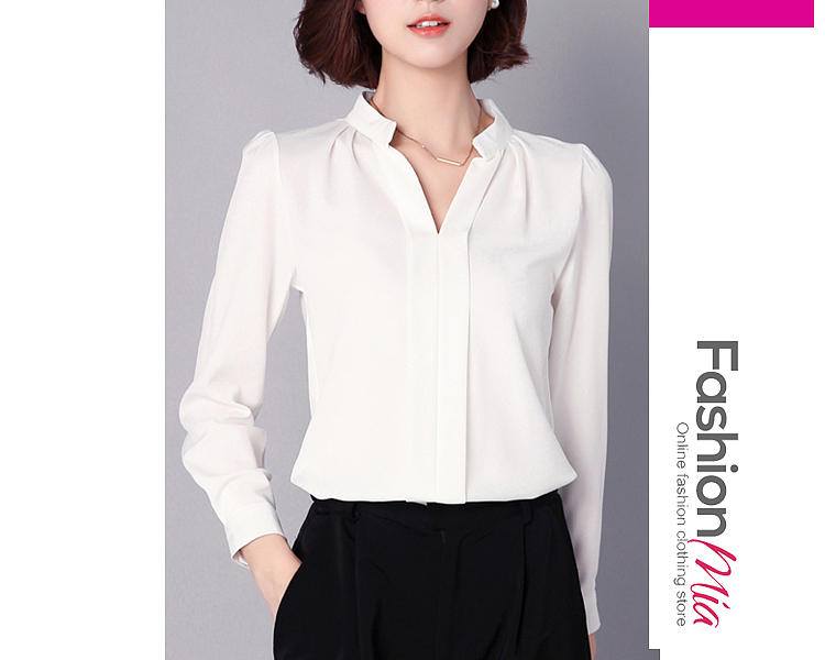 material:chiffon, collar&neckline:split neck, sleeve:long sleeve, pattern_type:plain, how_to_wash:hand wash only, occasion:office, season:autumn, package_included:top*1, length:59,shoulder:36,sleeve length:56,bust:86,