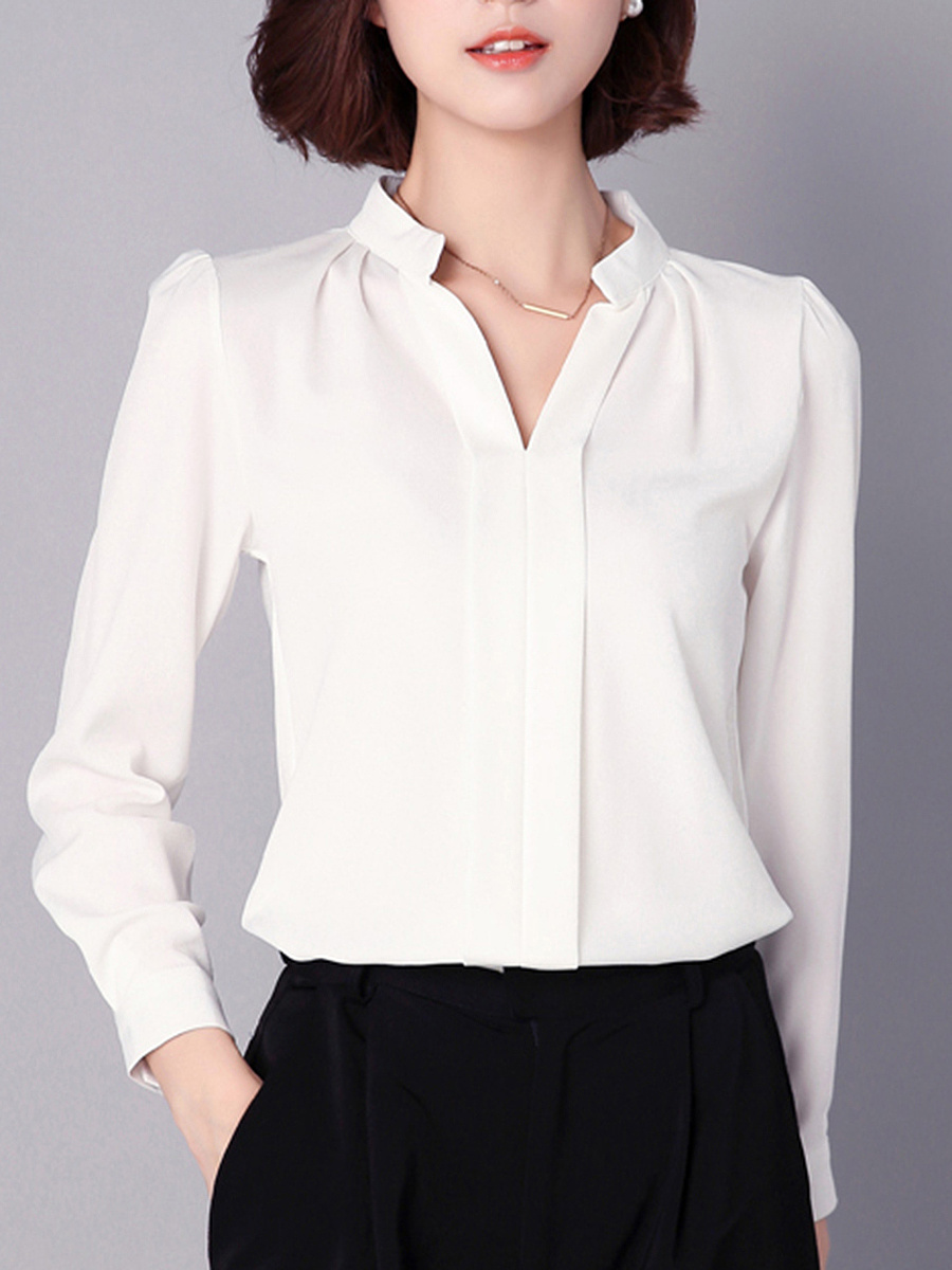 Split Neck  Plain Chiffon Long Sleeve T-Shirt