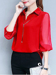 Spring Summer  Polyester  Women  Turn Down Collar  See-Through Single Breasted  Plain  Long Sleeve Blouses