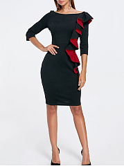 Boat Neck Cascading Ruffles Bodycon Dress