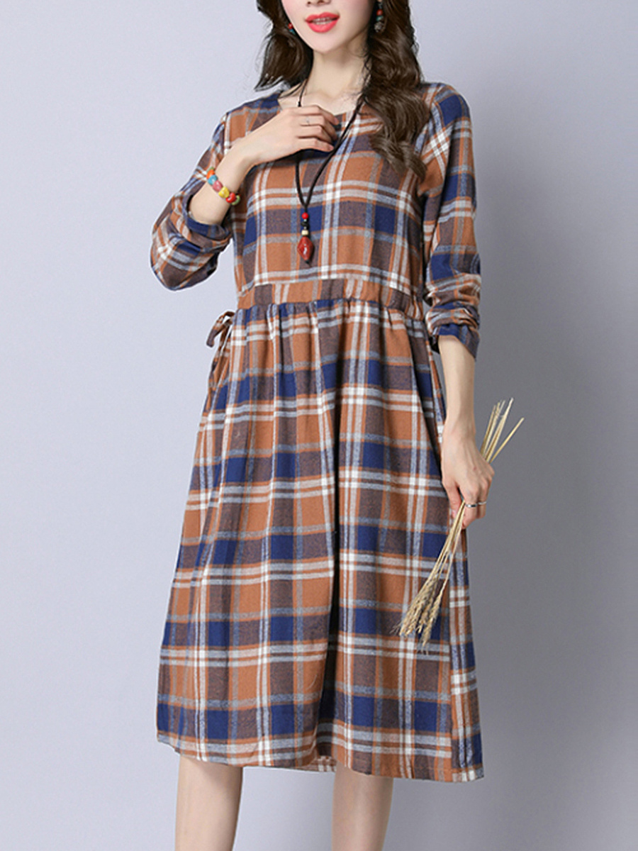 Round Neck Plaid Drawstring Midi Skater Dress
