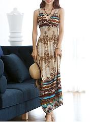 V-Neck-Embossed-Design-Printed-Maxi-Dress