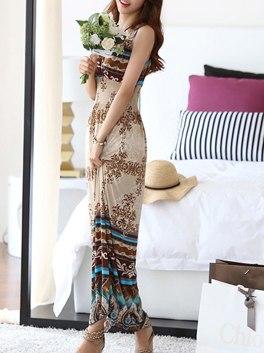 V Neck  Embossed Design  Printed Maxi Dress