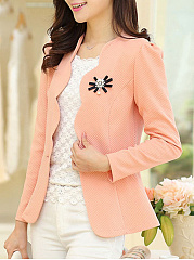 Scallop Collar Single Button  Plain Blazer