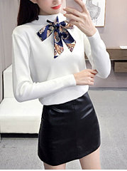 Fashion-Knit-Bowknot-Long-Sleeve-Sweater