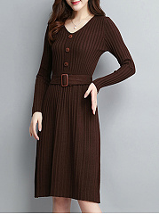 Belt Decorative Button  Plain Skater Dress