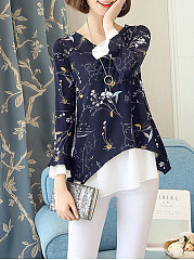 Printed  Bell Sleeve  Long Sleeve Blouses