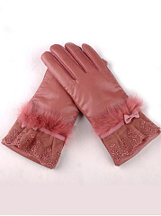 Lace Bowknot  Fur Decorative Leather Gloves
