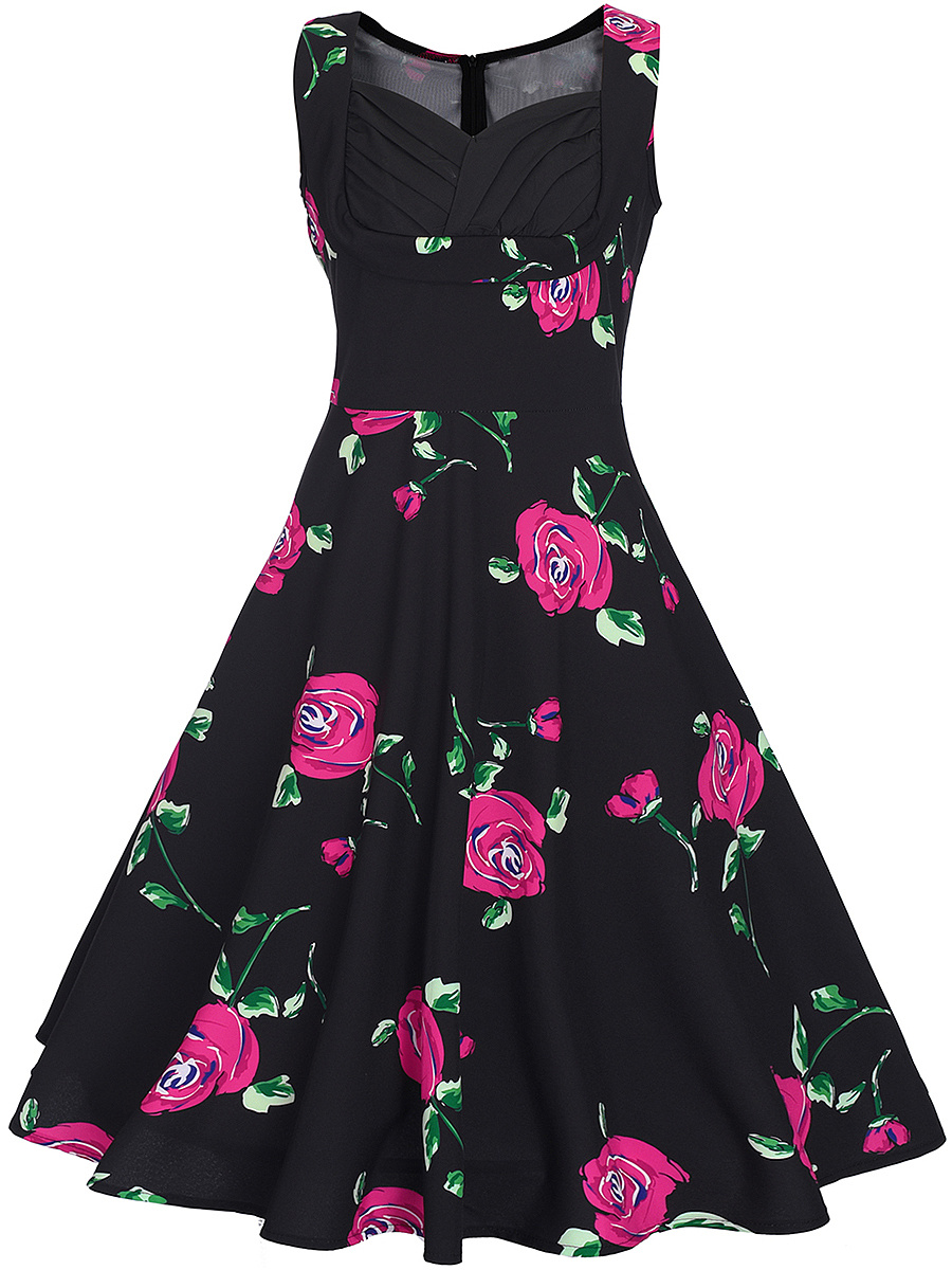 Pleated Bodice Sweet Heart  Floral Printed Skater Dress