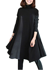 Cowl-Neck-Plain-Cotton-Blend-Shift-Dress