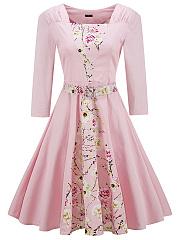 Chic-Floral-Printed-Belt-Square-Neck-Skater-Dress