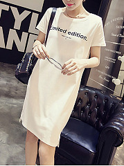 Round Neck  Letters Shift Dress