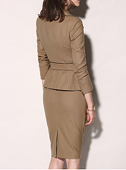 Fold-Over Collar  Belt  Plain Bodycon Dress