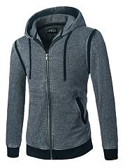Hooded-Contrast-Trim-Pocket-Drawstring-Men-Coat