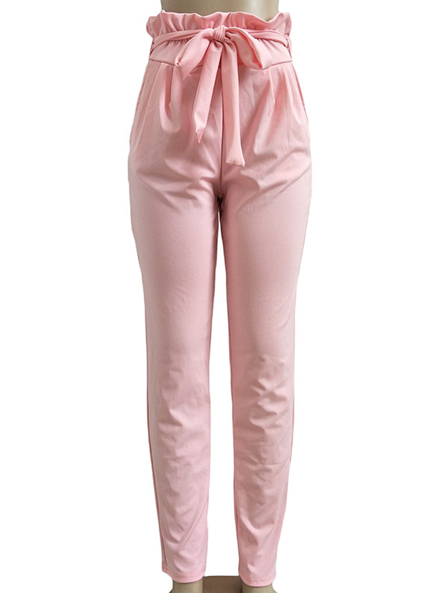 Fashion Leisure Style Bowknot  Plain  Pegged  High-Rise Casual Pants