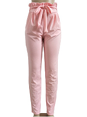 Fashion-Leisure-Style-Bowknot-Plain-Pegged-High-Rise-Casual-Pants