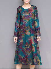 Round-Neck-Printed-Pocket-Maxi-Dress-With-Scarf