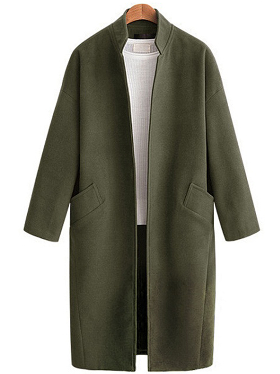 Band Collar Plain Longline Woolen Coat