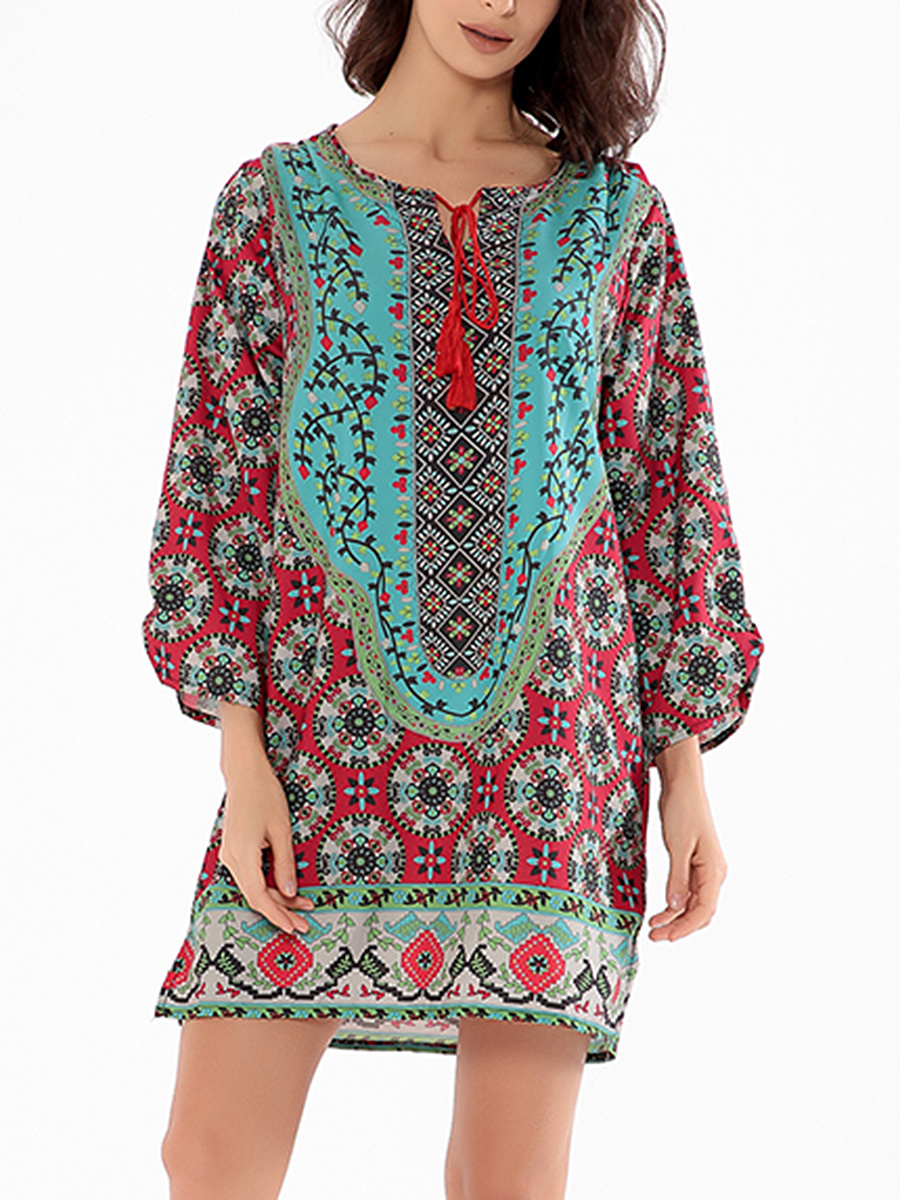 Tie Collar Fantastic Tribal Printed Shift Dress
