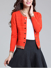 Double Breasted  Color Block Cardigans