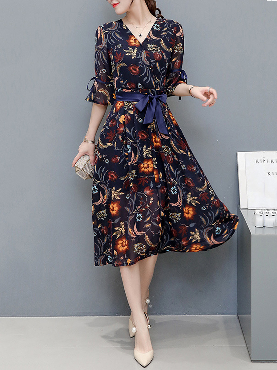 V-Neck  Bowknot  Printed  Chiffon Maxi Dress