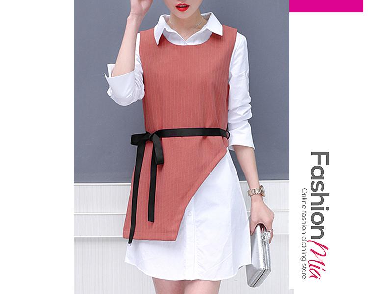 Turn Down Collar  Belt  Striped Shift Dresses