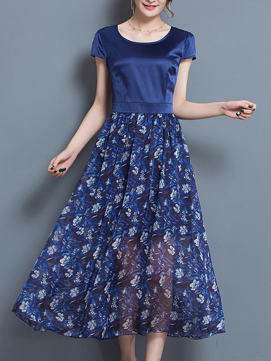 Round Neck Hollow Out Printed Maxi Dress