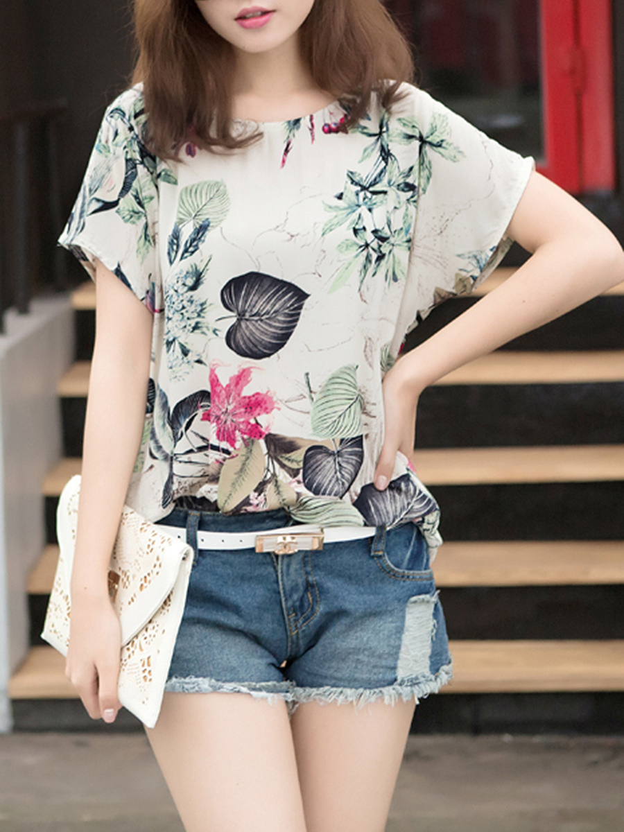 Casual Round Neck Printed Short Sleeve T-Shirt