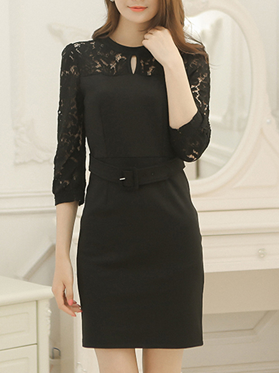 Crew Neck Hollow Out Plain Belt Bodycon Dress