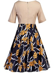 Round Neck Floral Printed Vintage Skater Dress