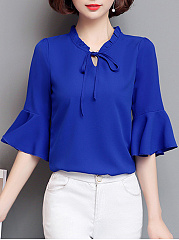 Tie Collar  Plain  Bell Sleeve Blouse