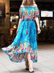 Off Shoulder  Drawstring  Printed Maxi Dress
