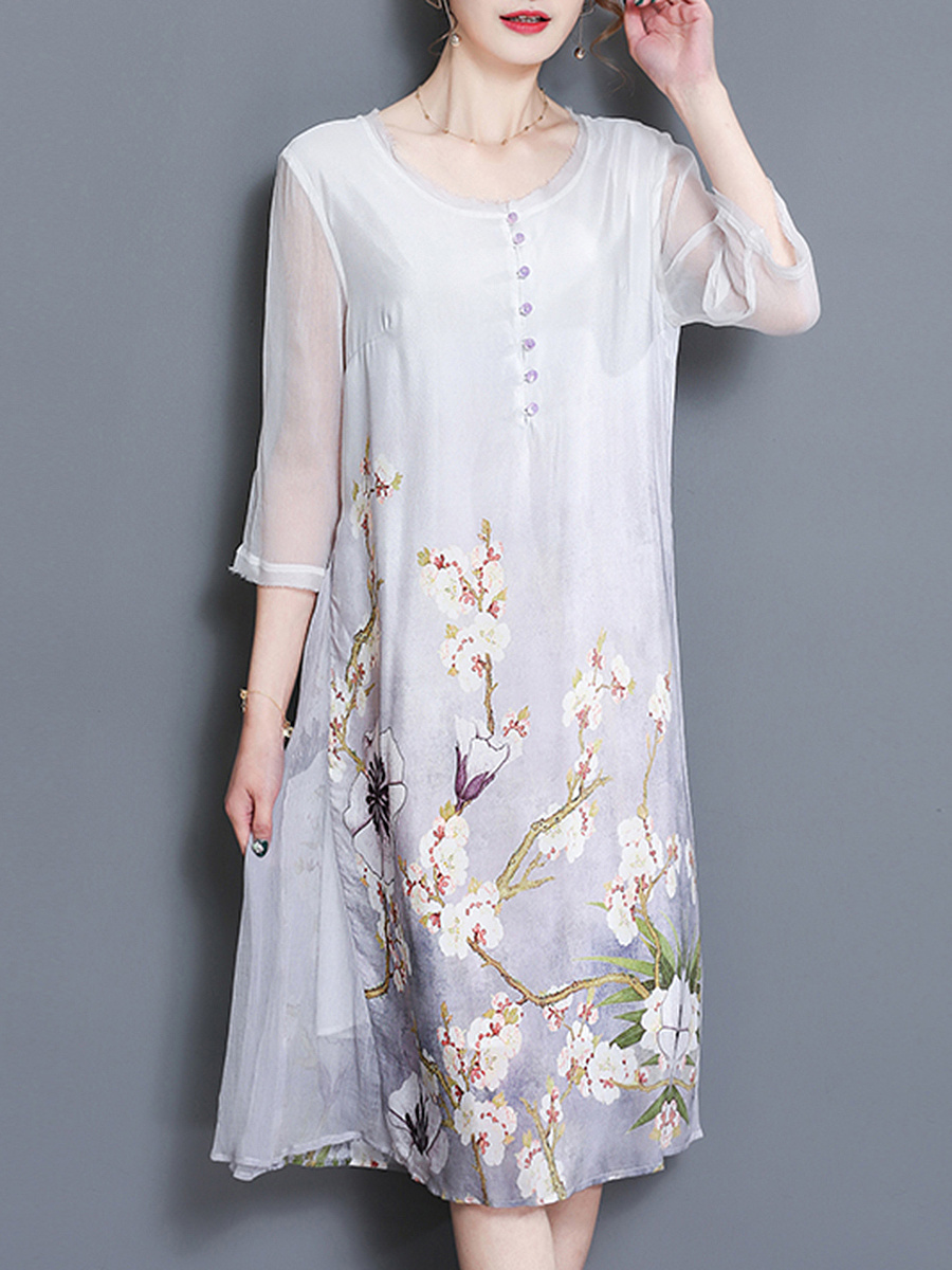 Round Neck Floral Hollow Out Chiffon Midi Shift Dress